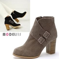 MODELSIS - Genuine Leather Buckled Ankle Boots