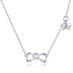 MBLife.com - 925 Sterling Silver with Freshwater Cultured Pearl Ribbon Bow Necklace (16')