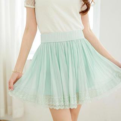 Tokyo Fashion - Accordion-Pleat Lace-Hem Chiffon Skirt