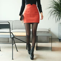 DABAGIRL - Cutout-Waist Colored Mini Skirt