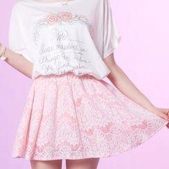 Tokyo Fashion - Elasticized-Waist Lace A-Line Skirt