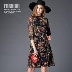 Ozipan - Elbow-Sleeve Printed Dress
