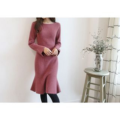 Hello sweety - Bell-Sleeve Wool Blend Dress