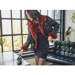 UUZONE - Faux-Fur Trim Faux-Leather Jacket