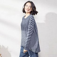 Sam's Tree - Drape-Shoulder Stripe Sweater