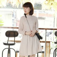Tokyo Fashion - Long-Sleeve Frilled-Trim Striped Dress