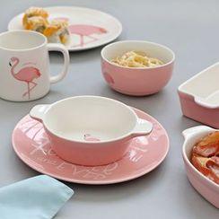 Ms Zaa - Flamingo Print Ceramic Bowl / Dish / Cup
