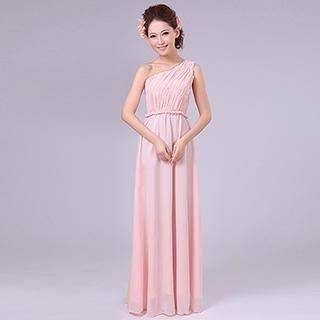 Annie Wedding - One-Shoulder Pleated Evening Dress