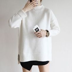 lilygirl - Plain Mock Neck Sweater