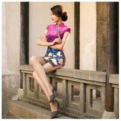 Janelle Qipao - Floral Print Velvet Short Cheongsam