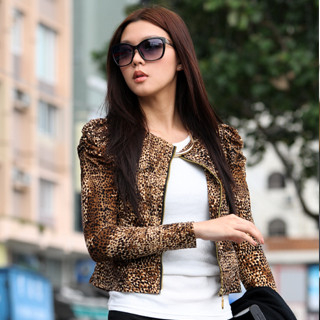 59 Seconds - Ruched-Sleeve Leopard Print Cardigan