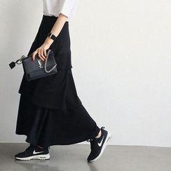 NANING9 - Tiered-Ruffle A-Line Long Skirt