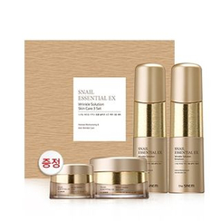 The Saem - Snail Essential EX Wrinkle Solution Skin Care Set: Toner 150ml + Emulsion 150ml + Cream 60ml + Eye Cream 30ml