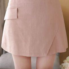 MyFiona - Inset Shorts Linen Blend Skirt