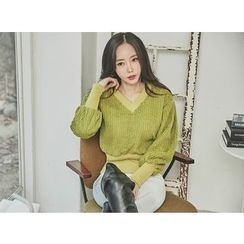 UUZONE - V-Neck Rib-Knit Sweater