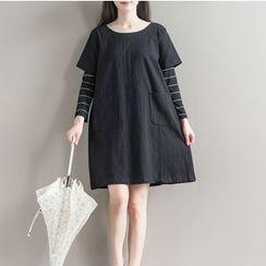 Clover Dream - Long-Sleeve Mock Two Piece A-line Dress