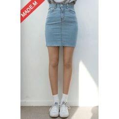 MICHYEORA - Fray-Hem Denim Mini Pencil Skirt