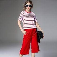 Y:Q - Set: Stripe Short-Sleeve T-Shirt + Wide Leg Cropped Pants