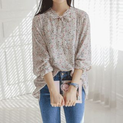 JUSTONE - Tie-Neck Floral Chiffon Blouse