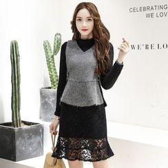 Romantica - Set: Knit Panel Top + Lace Pencil Skirt