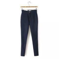 Ainvyi - Fleece-Lined Plain Skinny Pants