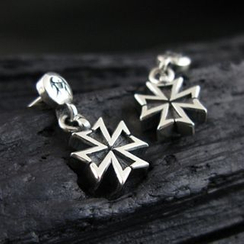 Sterlingworth - Hand Made Tinted Cross Charm Single Earring