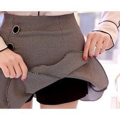 Marlangrouge - Inset Shorts Asymmetric Mini Skirt