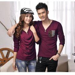 Porspor - Long-Sleeve Zip Detail Couple T-Shirt