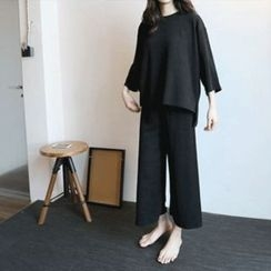 Hello sweety - Set: 3/4-Sleeve Top + Band-Waist Pants