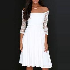 LIVA GIRL - Lace Trim Off Shoulder 3/4 Sleeve Dress