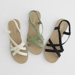 JUSTONE - Cross-Strap Flat Sandals