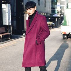 TOMONARI - Notched-Lapel Single-Breasted Wool Blend Coat