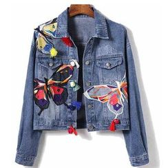 Lanka - Butterfly Embroidered Tasseled Denim Jacket