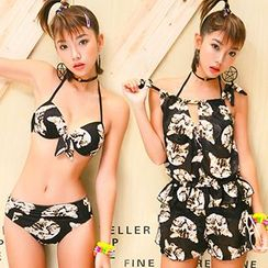 Little Dolphin - Set: Cat Print Bikini + Cover-Up