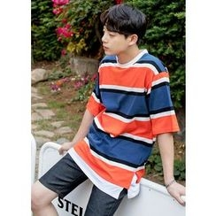 GERIO - Round-Neck Color-Block T-Shirt