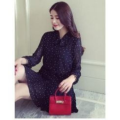 Romantica - Long-Sleeve Dotted Chiffon Dress