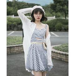 Miss Chipmunk - Slit-Front Check Suspender Dress