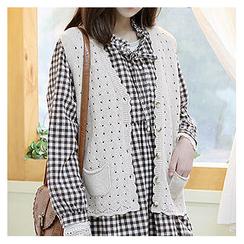 Sechuna - Dual-Pocket Buttoned Knit Vest