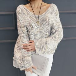 DANI LOVE - V-Neck Mélange Knit Top