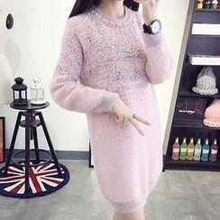 FR - Faux Pearl Long Sleeve Knit Dress