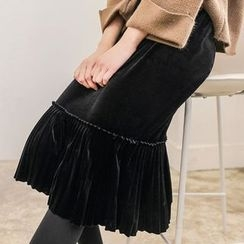 Seoul Fashion - Frill-Hem Velvet Long Skirt
