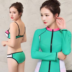 Roseate - Set: Color Block Bikini + Long-Sleeve Zip Rashguard + Swim Shorts