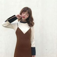 Alfie - Set: Color-Block Bell-Sleeve Turtleneck T-Shirt + Check Slipdress