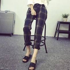 Glen Glam - Plaid Drawstring Pants
