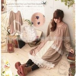 Nectarine - Long-Sleeve Lace Trim Dress