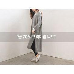 JUSTONE - V-Neck Wool Blend Knit Long Dress