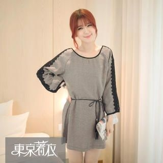 Tokyo Fashion - Long-Sleeve Crochet-Panel Houndstooth Dress