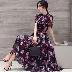 Lovi - Floral Print Short-Sleeve Chiffon Dress