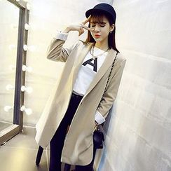 Bloombloom - Stripe-Cuff Long Coat