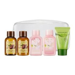 Nature Republic - Travelmate All In One Kit: Argan Essential Deep Care Shampoo 50ml + Conditioner 50ml + Love Me Bubble Bath & Shower Gel (Floral Bouquet) 50ml + Body Lotion (Floral Bouquet) 50ml + Jeju Sparkling Foam Cleanser 30ml